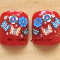 Holiday nail, Christmas nail, Chinese new year, fake nails, red nail, floral, butterfly, Japanese nail art, kawaii nails, 3D nail, big toes,