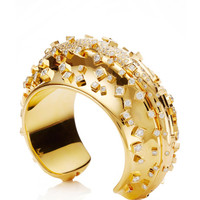 18K Yellow Gold Array Cuff by Wilfredo Rosado - Moda Operandi