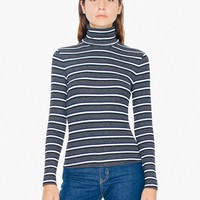 Striped 2x1 Rib Turtleneck Top | American Apparel