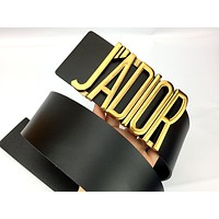 Dior Tide brand retro women's wild letter buckle smooth buckle belt Black