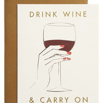 Rifle Paper Co. x Garance Dore 'Drink Wine & Carry On' Note Card