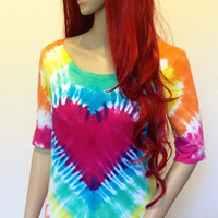 Bright Tie-Dye Heart Tee with Half Sleeve and Wide Neck