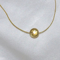 Gold Coin Pearl Necklace, Antique Gold Pearl on Golden Cord, Minimalist, Wabi-Sabi, Full Moon, 14k Gold Filled Clasp, Single Pearl Pendant