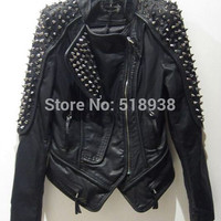 Women's punk RIVETS STUDDED Motorcycle PU Leather Spike Jacket autumn winter european style clothing outerwear women coats