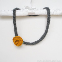 Charcoal Grey Wool Crochet Necklace with Mustard Yellow Rose, skinny rope scarf, ready to ship.