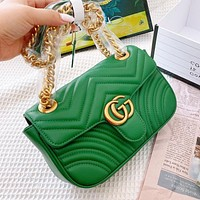 Bunchsun Gucci Marmont wave line shoulder bag green