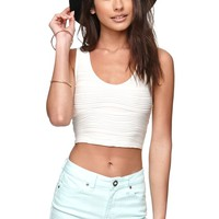 LA Hearts Textured Cropped Tank - Womens Tees - White - Large