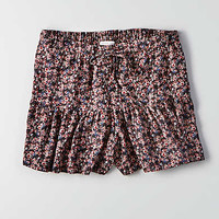 AEO Floral Drawstring Soft Short, Black