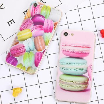 Lovely Sweet Candy Cover For iPhone 7 6 6s Plus SE 5 5s Case Dessert ice cream Macaron Printed Phone Cases Slim Soft TPU Coque