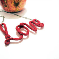 Scarlet Love Sign Necklace Wrapped Crochet Tube by vanessahandmade