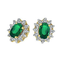 14kt Gold, Emerald and Diamond Earrings