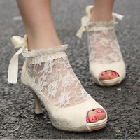 NEW Womens Lace Floral Mesh Peep Toe High Heel Sandals Wedding Shoes Roma Boots