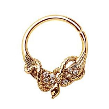 WILDKLASS Gold Plated Jeweled Wings and Snake Seamless Ring/Septum Ring