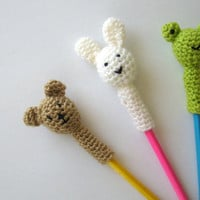 INSTANT DOWNLOAD Pdf Pattern - Animal Pencil Toppers