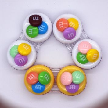 LIUSVENTINA DIY resin M bean double US-pupil storage box contact lens case for eyes contact lenses box for glasses