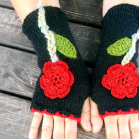 Black Gloves, Knit Mittens, Hand Warmer, Winter Gloves, Gloves, Floral Knitted Gloves, Women's Gloves, Arm Warmers, Girls Gloves, Gift Ideas