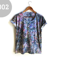 "No. 002 - One-of-a-Kind Crystalline ""Geode Dyed"" Hand PAINTED Scoop Neck Pinned Rolled Cuffs Custom Oversized Tee - One Size"