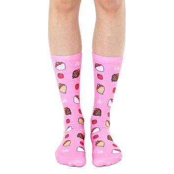 Chocolate Strawberries Crew Socks