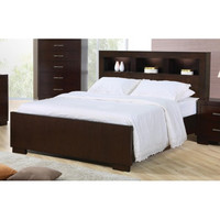 Jessica Contemporary Bed with Storage Headboard and Built in Lighting
