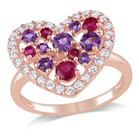 1 3/4 CT TGW White Topaz Ruby Amethyst Fashion Ring  Pink Silver Pink Plated