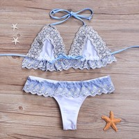Swimsuit Summer New Arrival Beach Hot Floral Lace Sexy Ladies Swimwear Ruffle Hollow Out Bikini [222044192793]