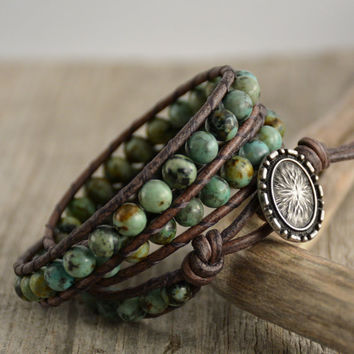 Rustic African turquoise jewelry. Leather wrap bracelet