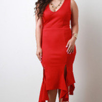 Women's Red Waterfall Hem Dress in Plus Size
