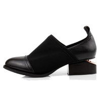 Retro Neutral Leather Elastic Cloth Notched Heel Pointed Shoes - Choies.com