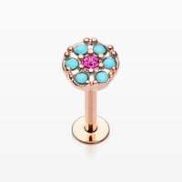 Rose Gold Turquoise Boho Circle Sparkle Top Steel Labret