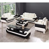 Full Set Modern Leather Sectional Sofa Set