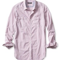 Banana Republic Mens Slim Fit Soft Wash Micro Check Utility Shirt