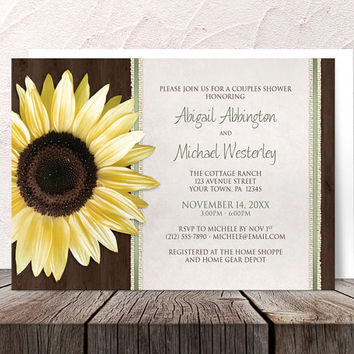 Sunflower Couples Shower Invitations - Country Brown Wood with Burlap and Green Accents - Printed Invitations