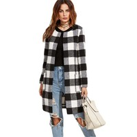 Plaid Open Front Collarless Long Sleeve Jacket