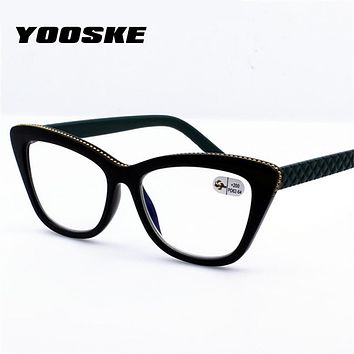 YOOSKE Double light Reading Glasses Fashion Women Cat Eye Glasses for Reading Hyperopia Presbyopia Eyewear Diopter 1.5 2.5 3.5