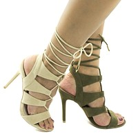 Giovanni By Shoe Republic, Open Toe Caged Leg Wrap Stiletto Heel Sandals
