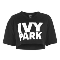 Logo Cropped V Neck Tee by Ivy Park | Topshop