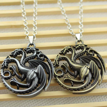 Game Of Thrones Necklace Daenerys Targaryen Blood and fire round dragon Winter is coming pendant necklace 19 Style