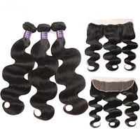 Malaysian Body Wave Bundles With Frontal Non Remy Human Hair 3Pcs  Bundles With Closure