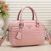 PRADA Women Leather Tote Handbag Shoulder Bag Pink
