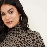 Curves Green Leopard Print Roll Neck Top | New Look