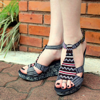 Hmong Embroidered  Womens Ethnic Shoes Black and White With Indigo Batik Wedge Heel