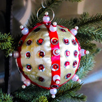 Christmas Ornament, Gold Fabric Ball with Red, Silver, & Pearl in Gift Box, Handmade Tree Decoration, Hostess Gift, Holiday Decor
