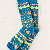 Neon Fair Isle Boot Sock- Blue One