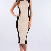 Nude Wave Midi Bandage Dress