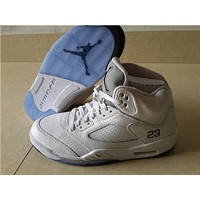 Air Jordan 5 while silver Basketball Shoes 36-47