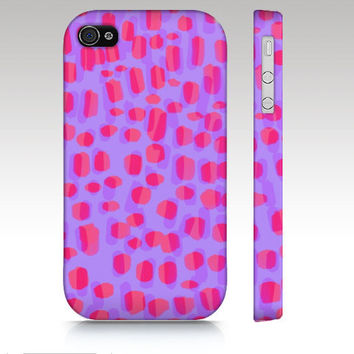 iPhone 4s case, iPhone 4 case, iPhone 5 case, pink dots, paint spots, abstract painting, pink purple coral, art for your phone
