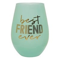 """SLANT COLLECTIONS """"BEST FRIEND EVER"""" 30 OZ STEMLESS WINE GLASS"""