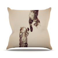 "Monika Strigel ""Upside Down"" Brown Cats Throw Pillow"