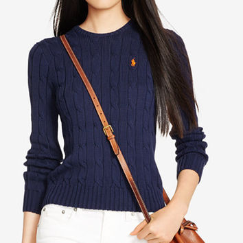 Polo Ralph Lauren Cable-Knit Cotton Sweater - Sweaters - Women - Macy's