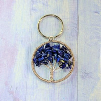 Lapis Lazuli-Lapis Pendant-Lapis Keychain-Tree Of Life-Chakra Pendant-Reiki Keychain-Tree Key Chain-Lapis Tree Key Chain-Lapis Key Holder